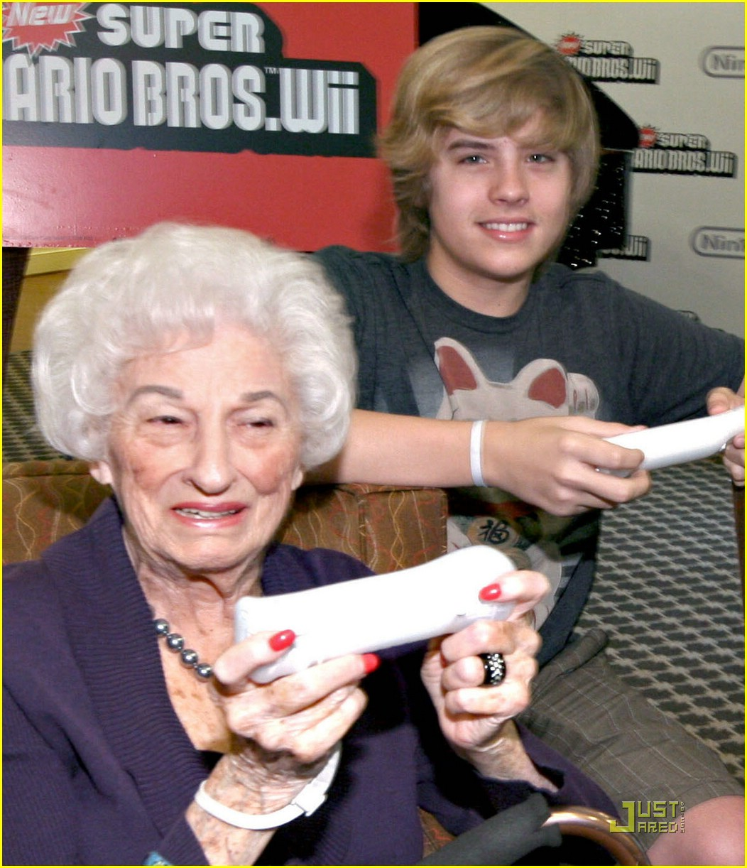 Dylan & Cole Sprouse Play Video Games with the Elderly | Photo