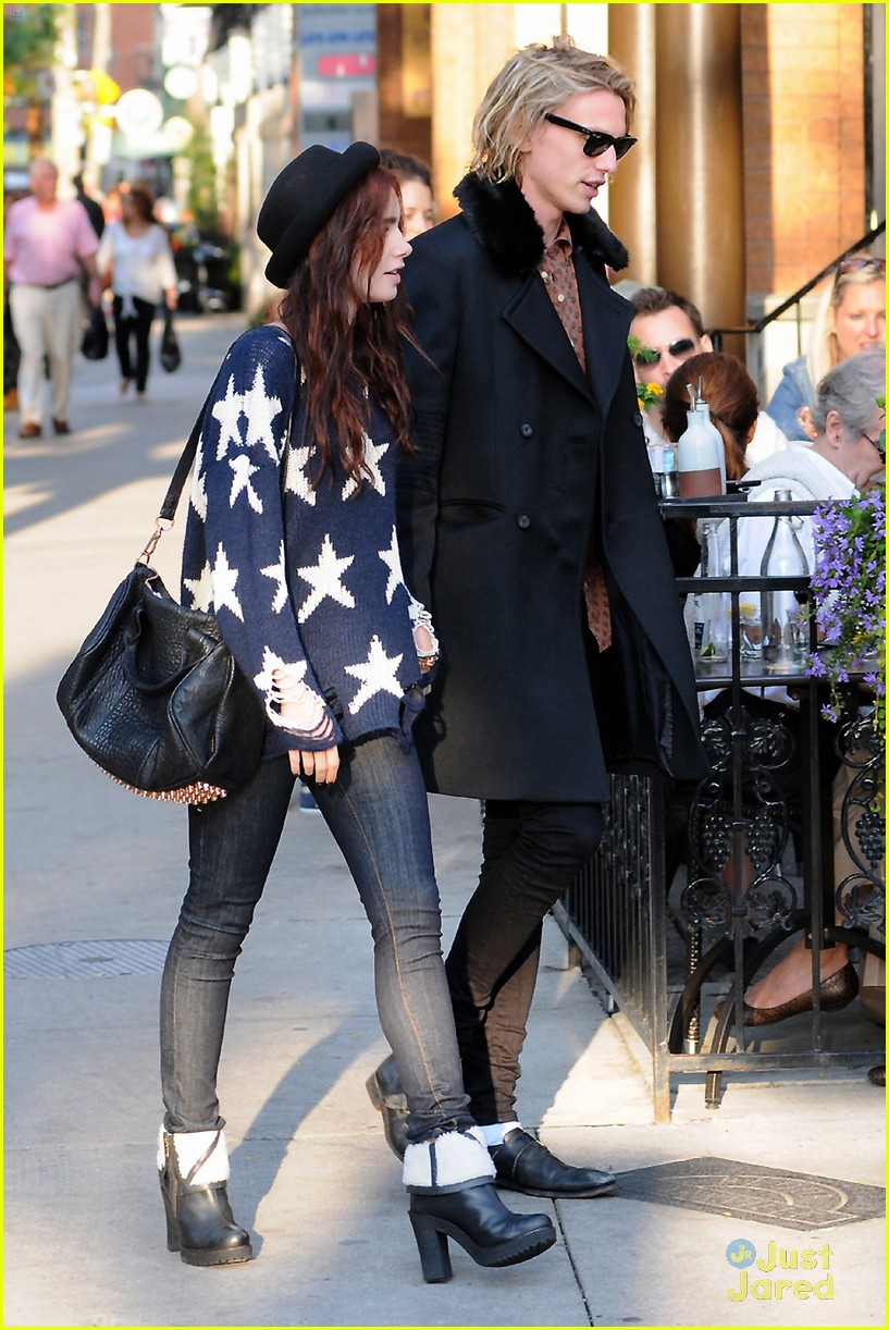 lily collins jamie bower hold hands 03
