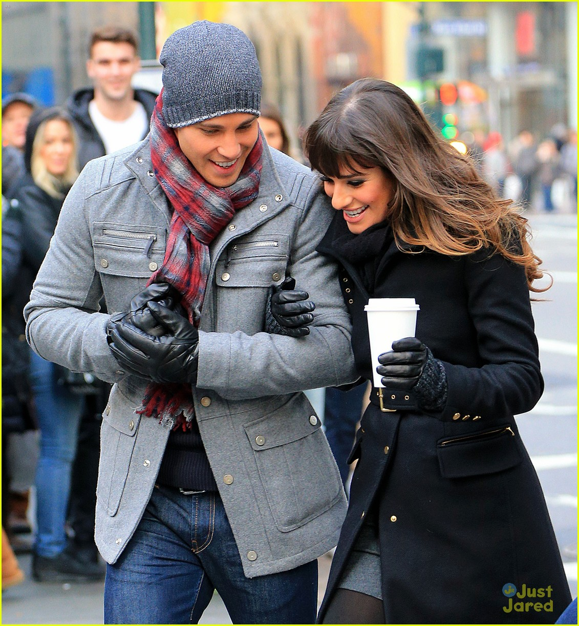 lea michele chris colfer dean geyer glee nyc 04