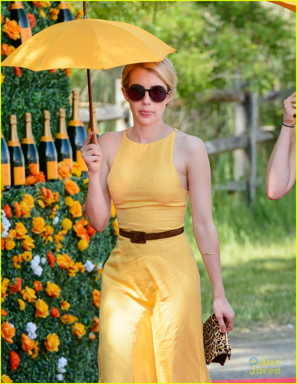 Emma Roberts Wears The Perfect Yellow Dress For Veuve Polo Classic Photo 820020 Emma Roberts Pictures Just Jared Jr
