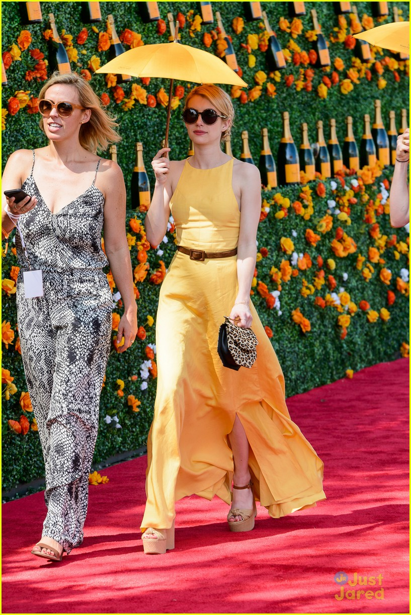 Emma Roberts Wears The Perfect Yellow Dress For Veuve Polo Classic Photo 820037 Emma Roberts Pictures Just Jared Jr
