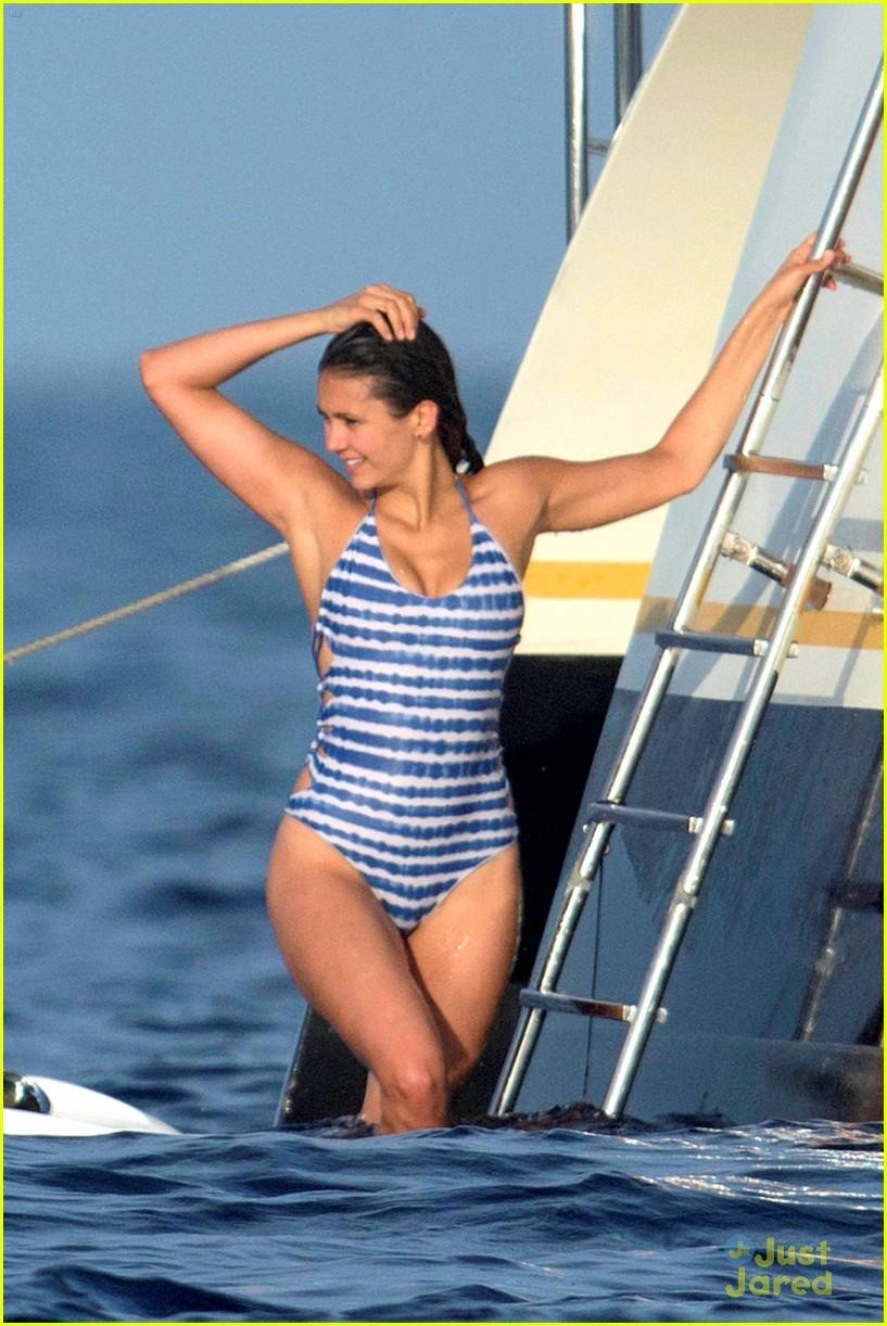 nina dobrev wears a monokini alongside shirtless boyfriend austin stowell 01