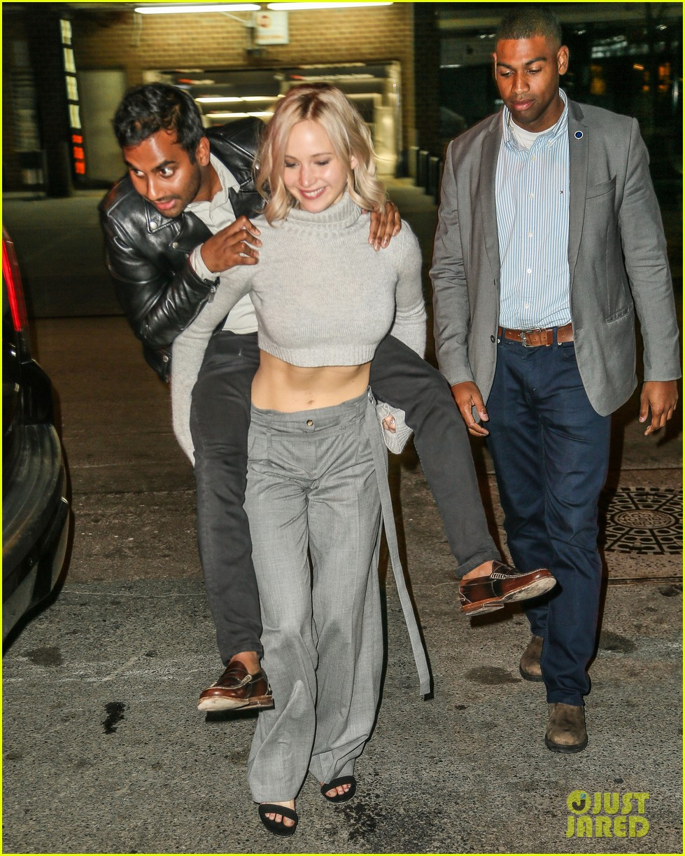 Jennifer Lawrence Goofs Off With Aziz Ansari In NYC