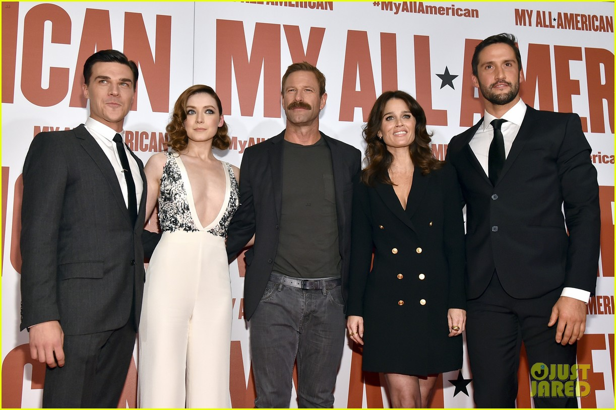 finn wittrock gets support from ahs co stars at my all american premiere 09