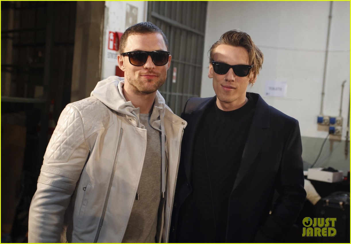 jamie campbell bower meets up with ed skrein at milan fashion week