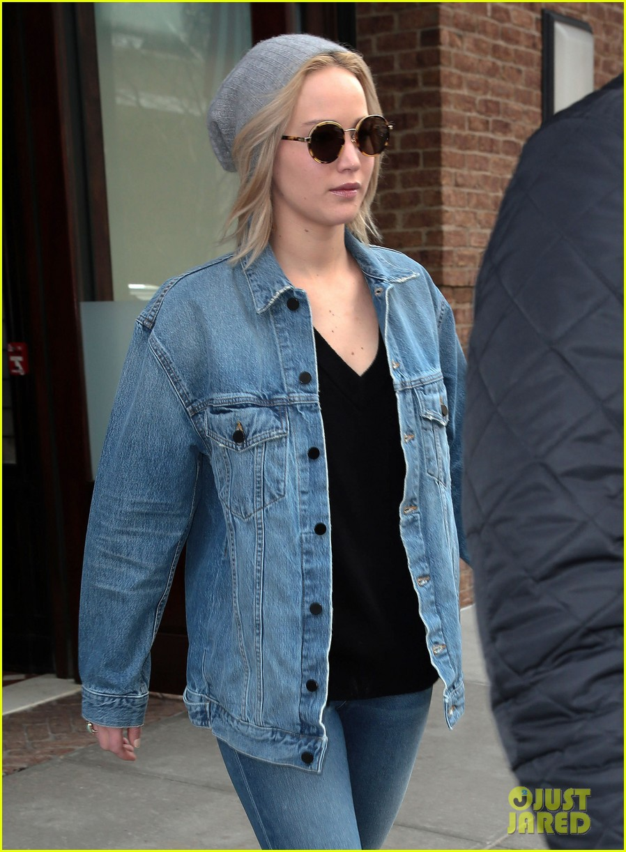 Jennifer lawrence rocks a denim outfit for nyc outing photo jennifer lawrence carries her pup in nyc cold 05 voltagebd Image collections
