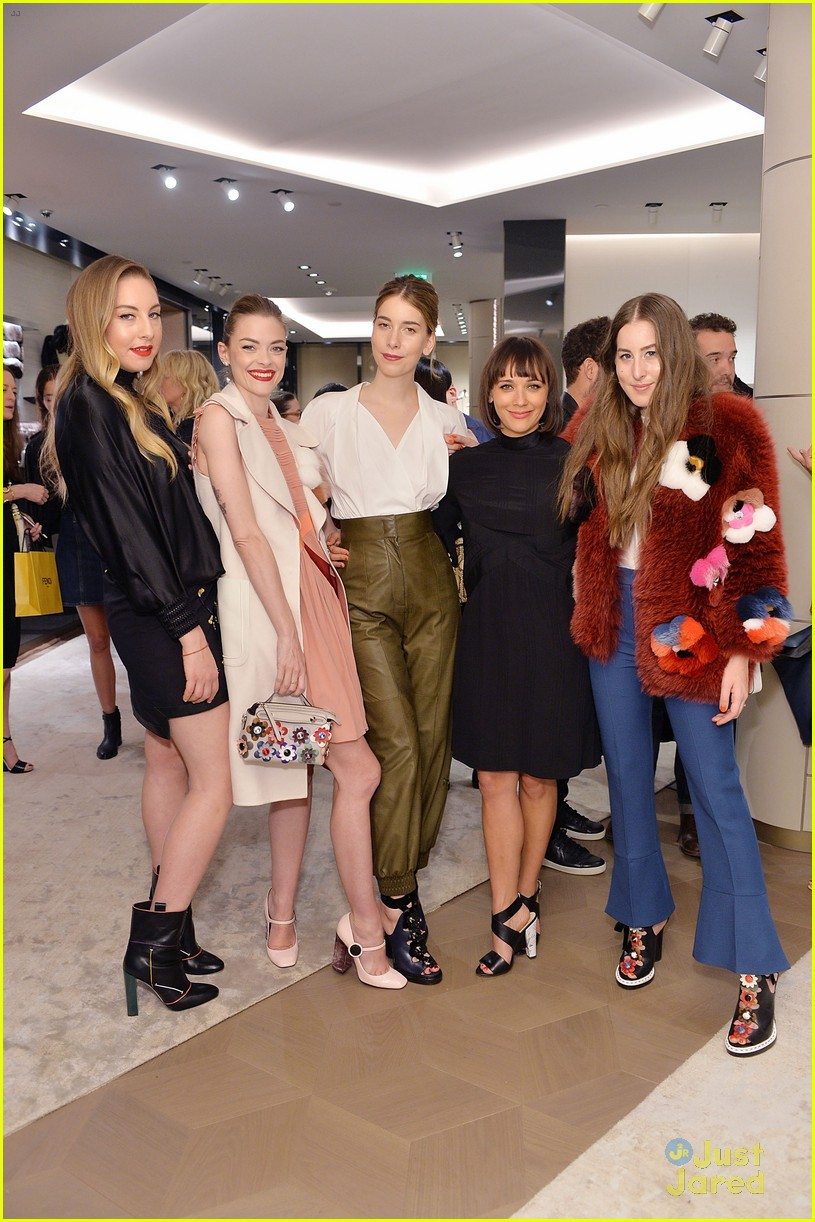 kiernan shipka haim sisters hang out at fendi store opening 03