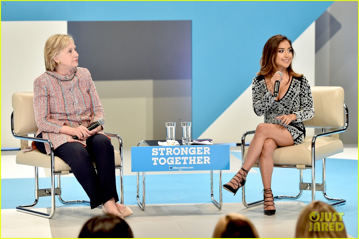 peyton list support hillary clinton at digital creator town hall 16