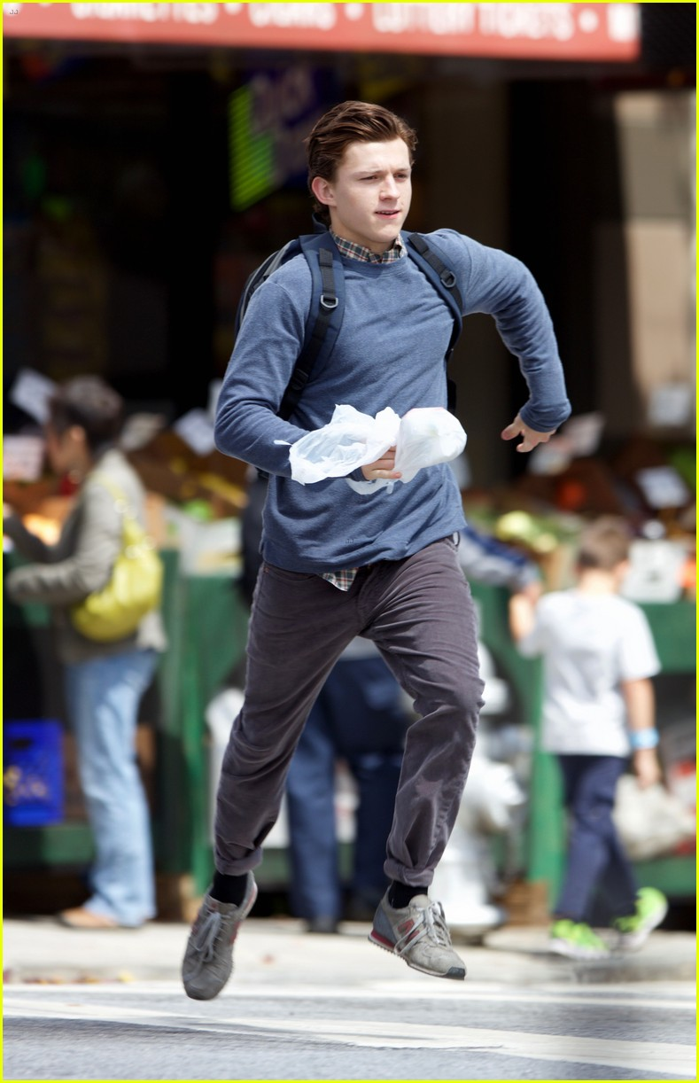 tom holland suits up on the set of spider man homecoming 05