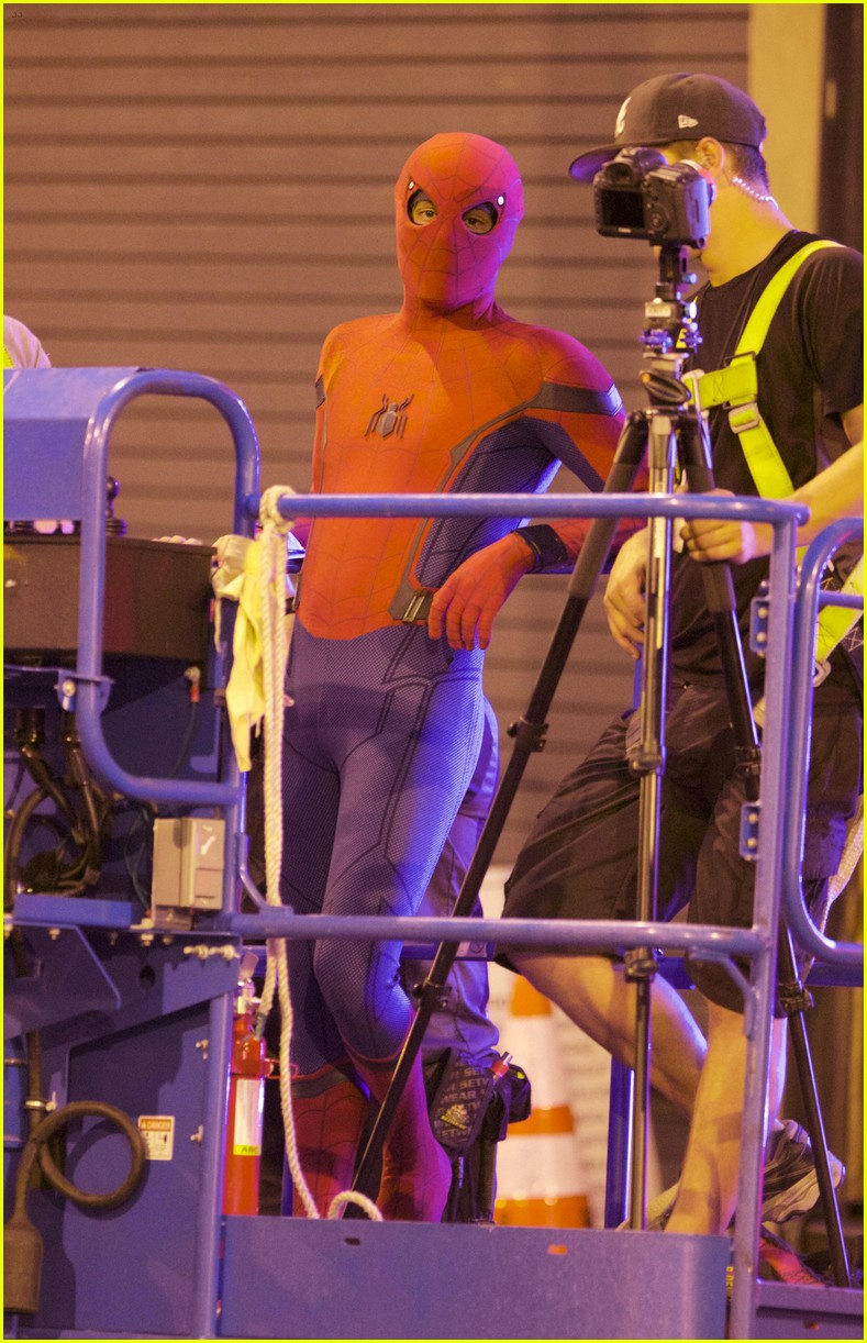 tom holland suits up on the set of spider man homecoming 14
