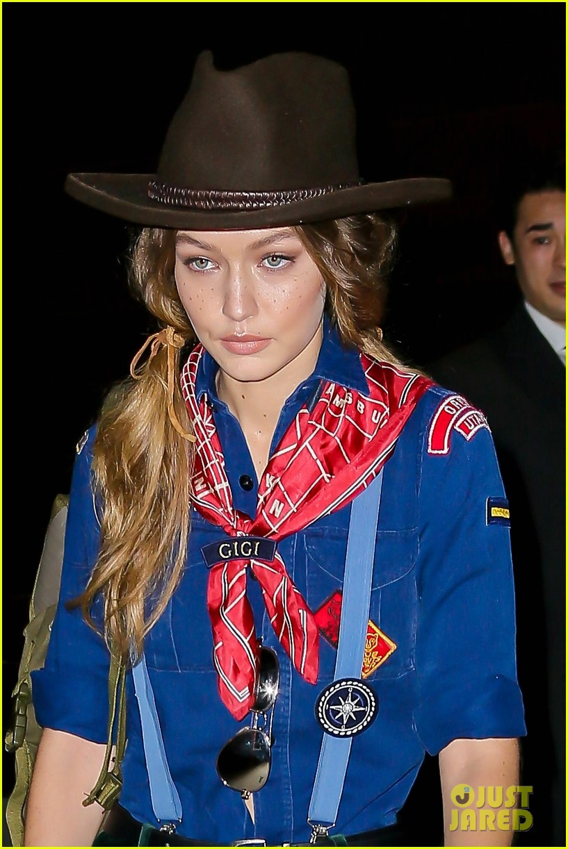 gigi hadid channels a cub scout on her way to bff taylor swift's
