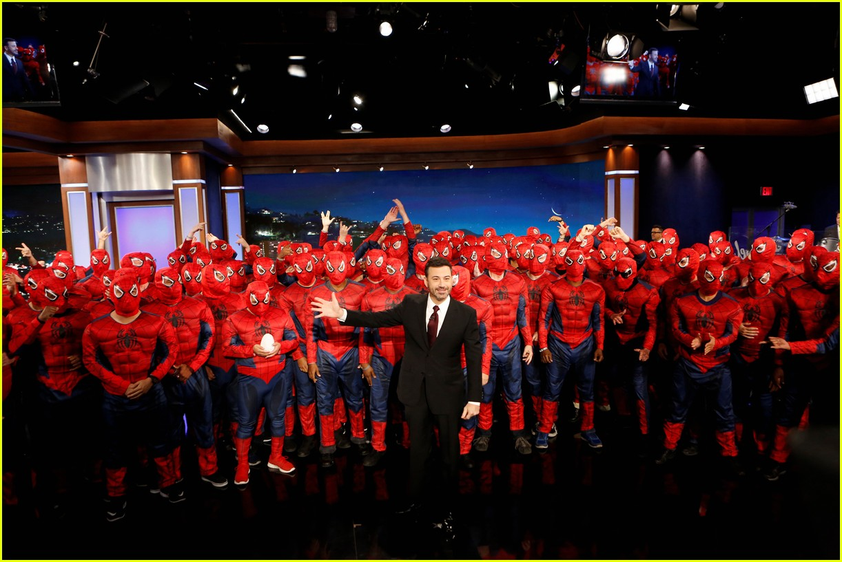 tom holland suits up with spider man homecoming fans on jimmy kimmel live 05