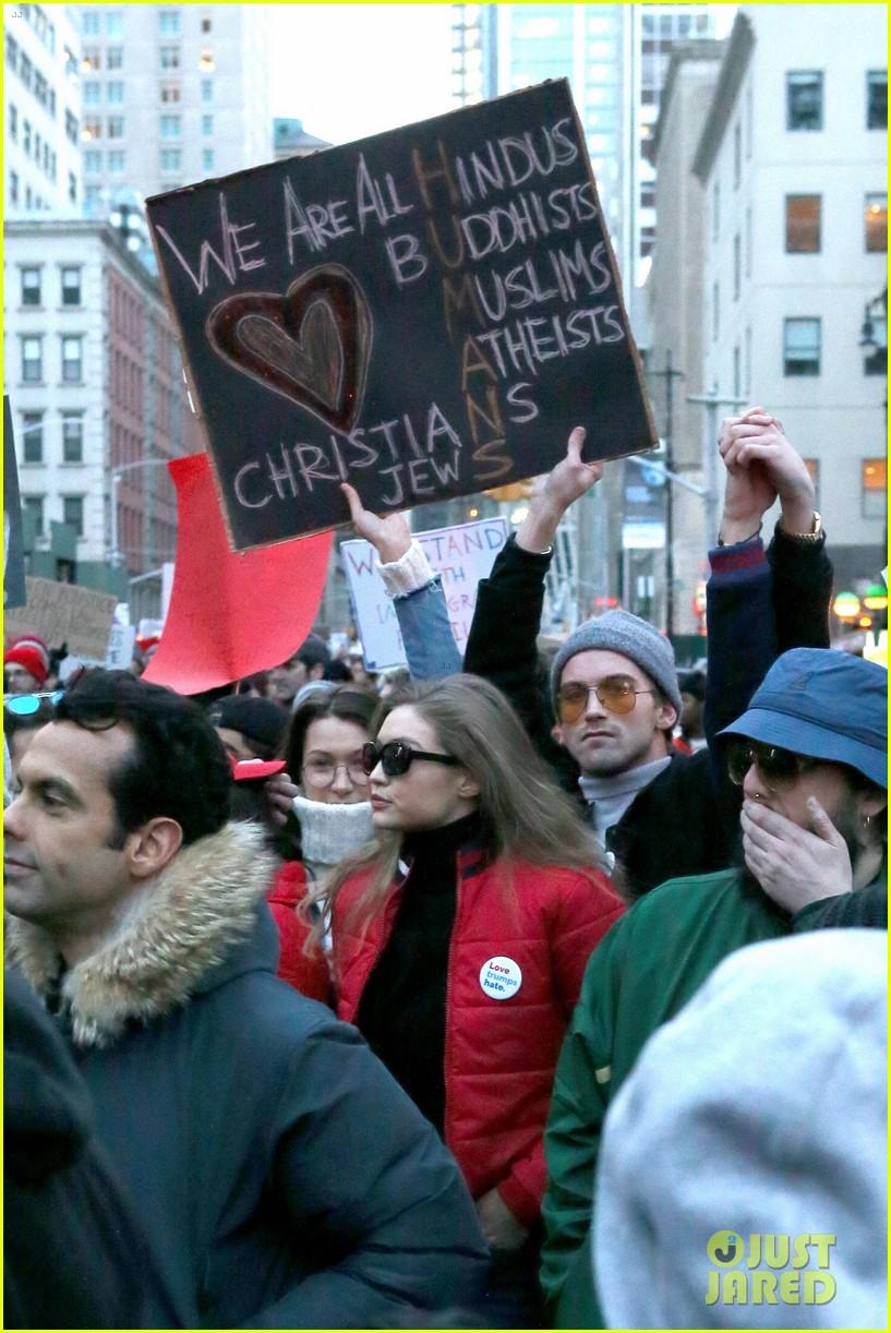bella gigi hadid join protestors in new york city 01