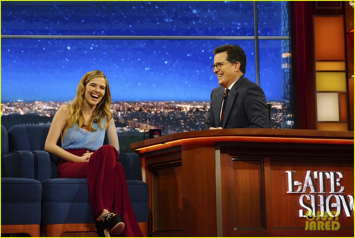 zory deutch jumped on stephen colbert and almost hit him with her shoe 03