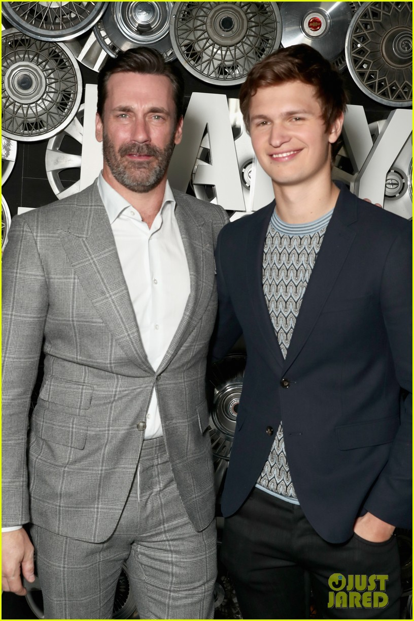 jon hamm ansel elgort look handsome at baby driver 02