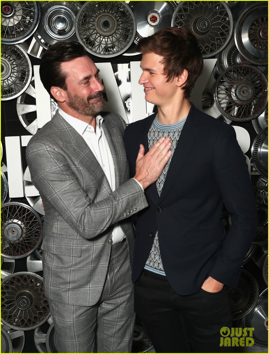 jon hamm ansel elgort look handsome at baby driver 03