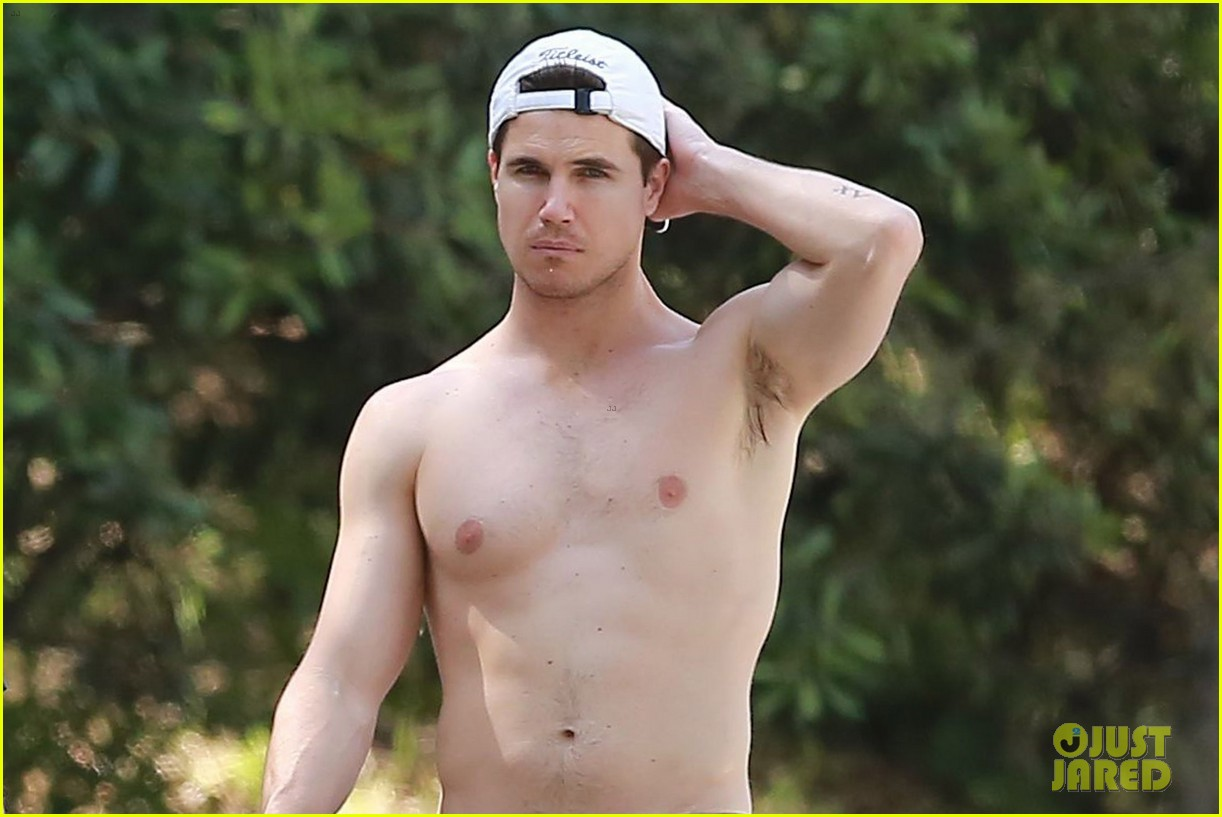 robbie amell goes shirtless on a hike 02