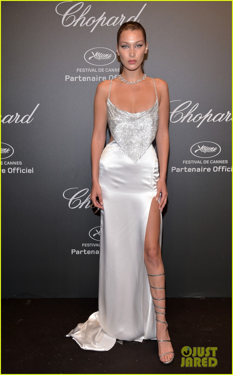 bella hadid is all about the sparkles and cat eye at chopard space party 01