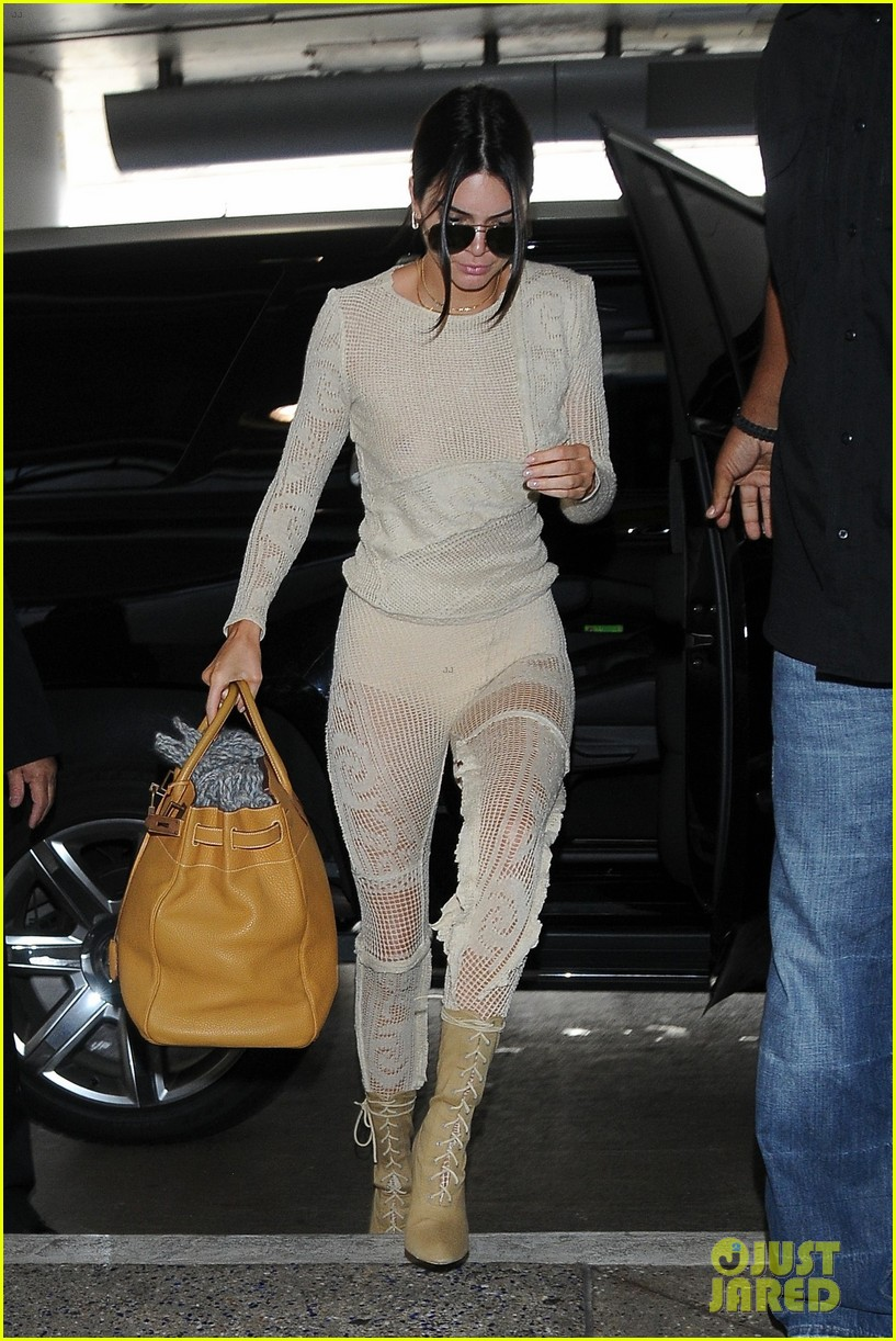 kendall jenner goes braless in sheer crochet top and see through pants 04