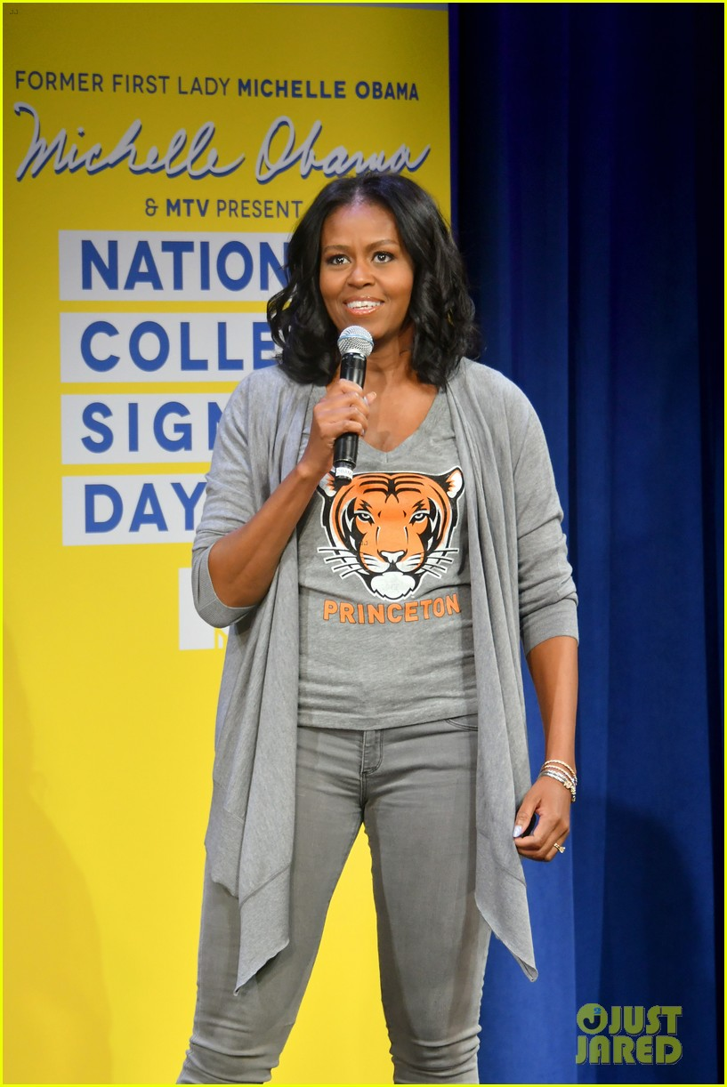 michelle obama bella hadid mtv college signing day 12