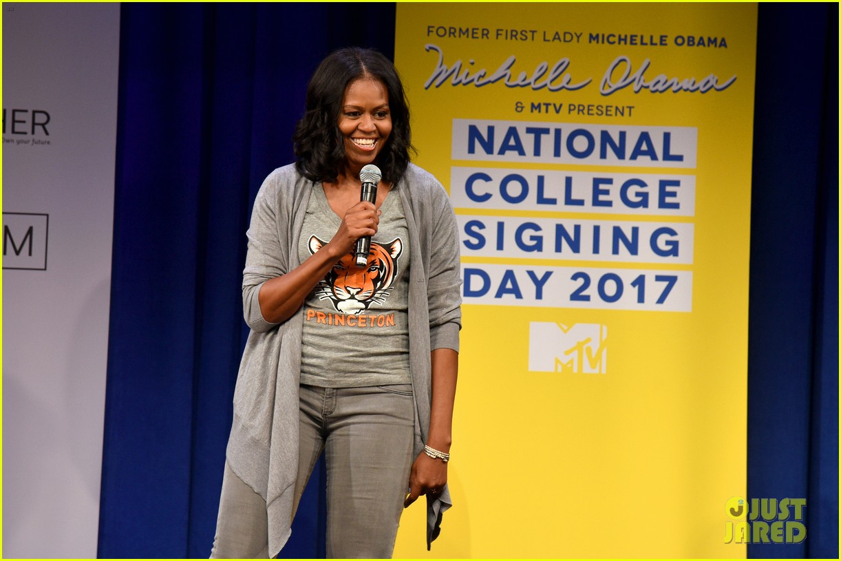 michelle obama bella hadid mtv college signing day 18