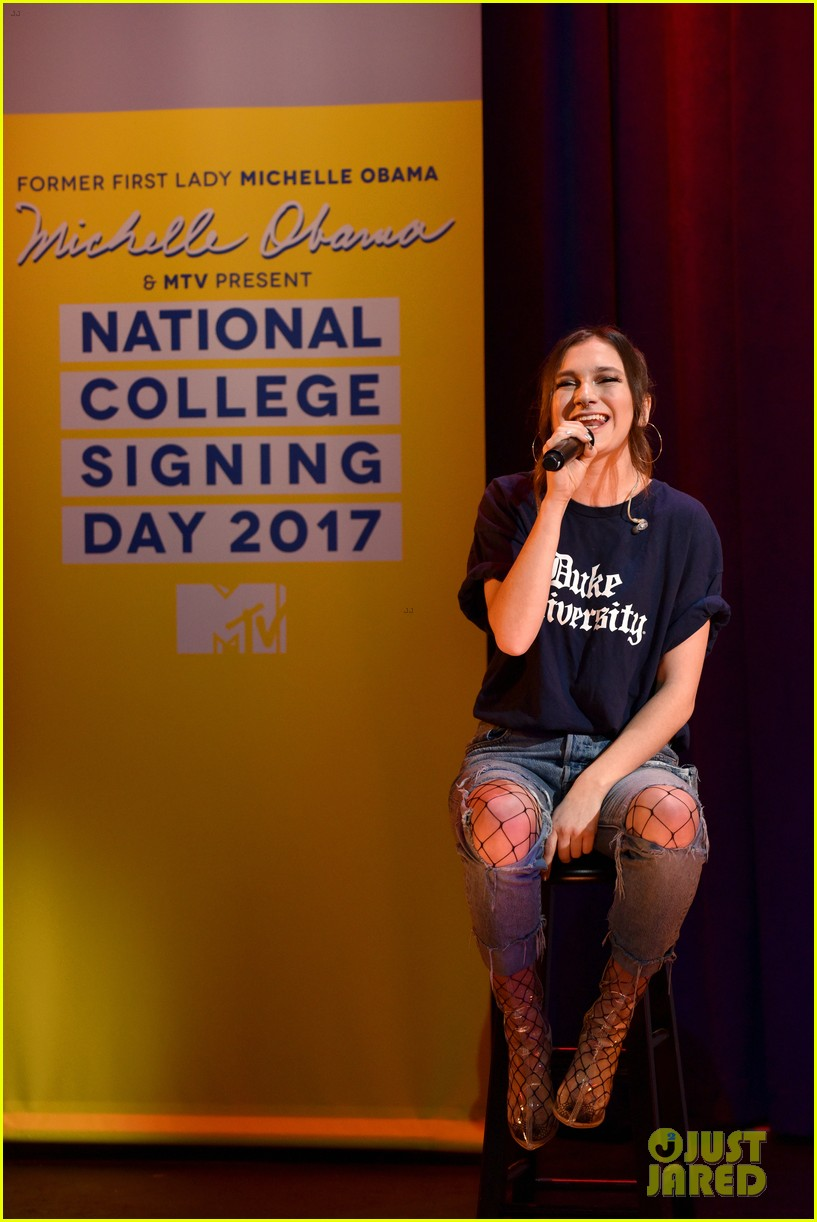 michelle obama bella hadid mtv college signing day 21