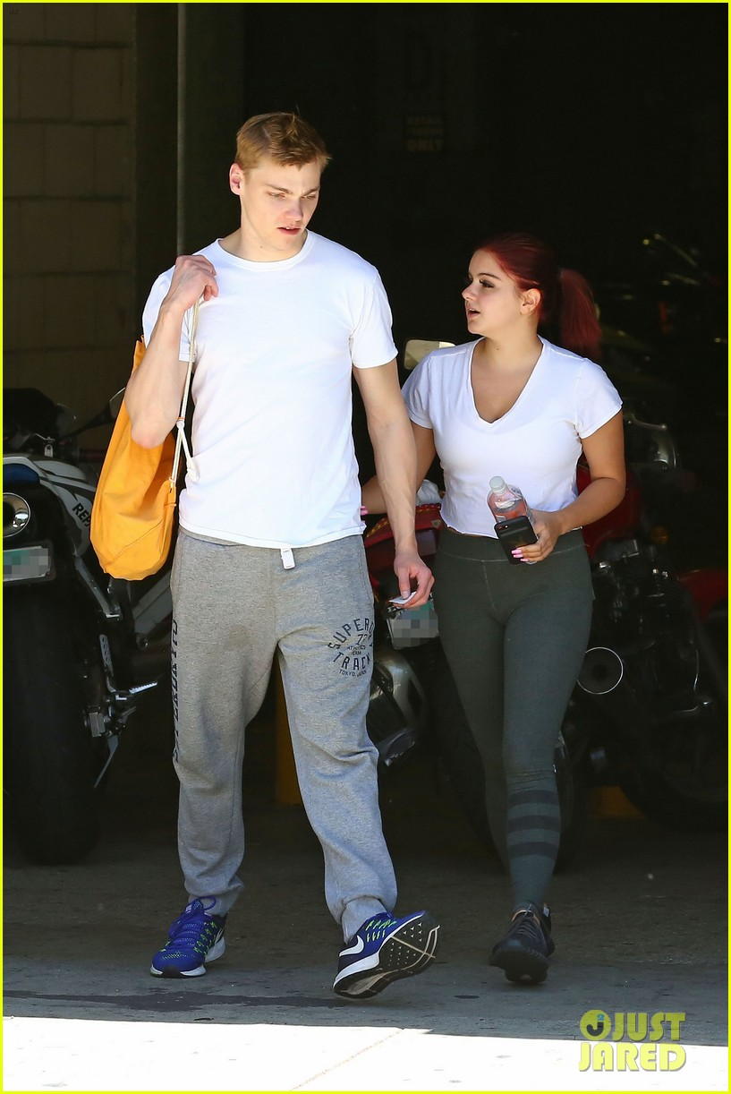 ariel winter shows off new red hair color while out with boyfriend levi meaden2 02