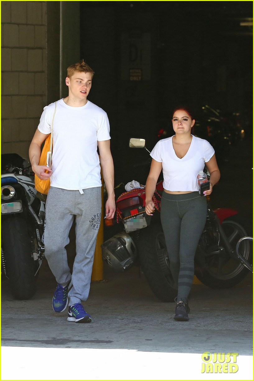 ariel winter shows off new red hair color while out with boyfriend levi meaden2 07