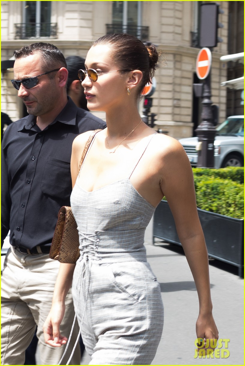 bella hadid sports corst jumpsuit while out and about in paris 02