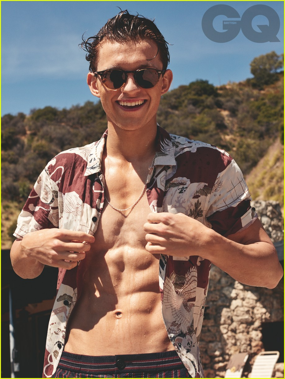 tom holland shirtless abs gq 01
