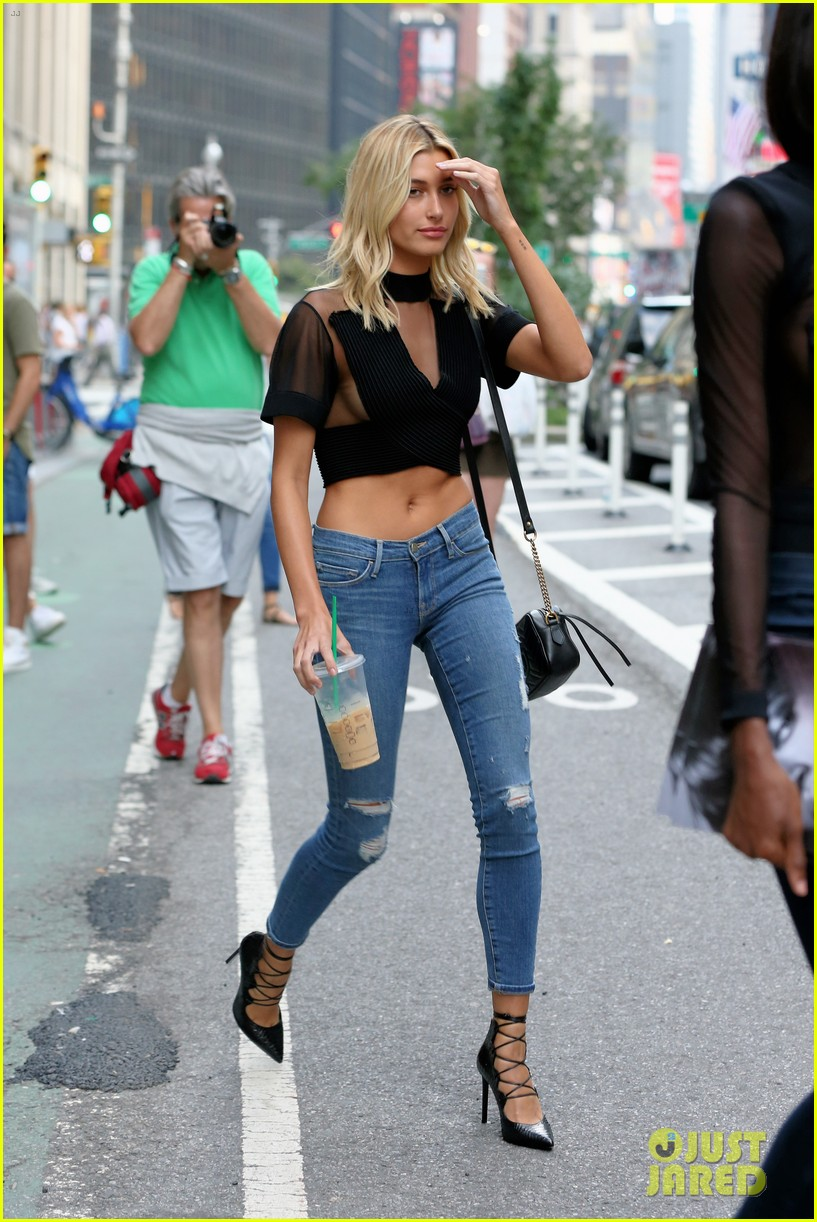 d7a3c63ceb hailey baldwin auditions for victorias secret fashion show in semi sheer  crop top 06