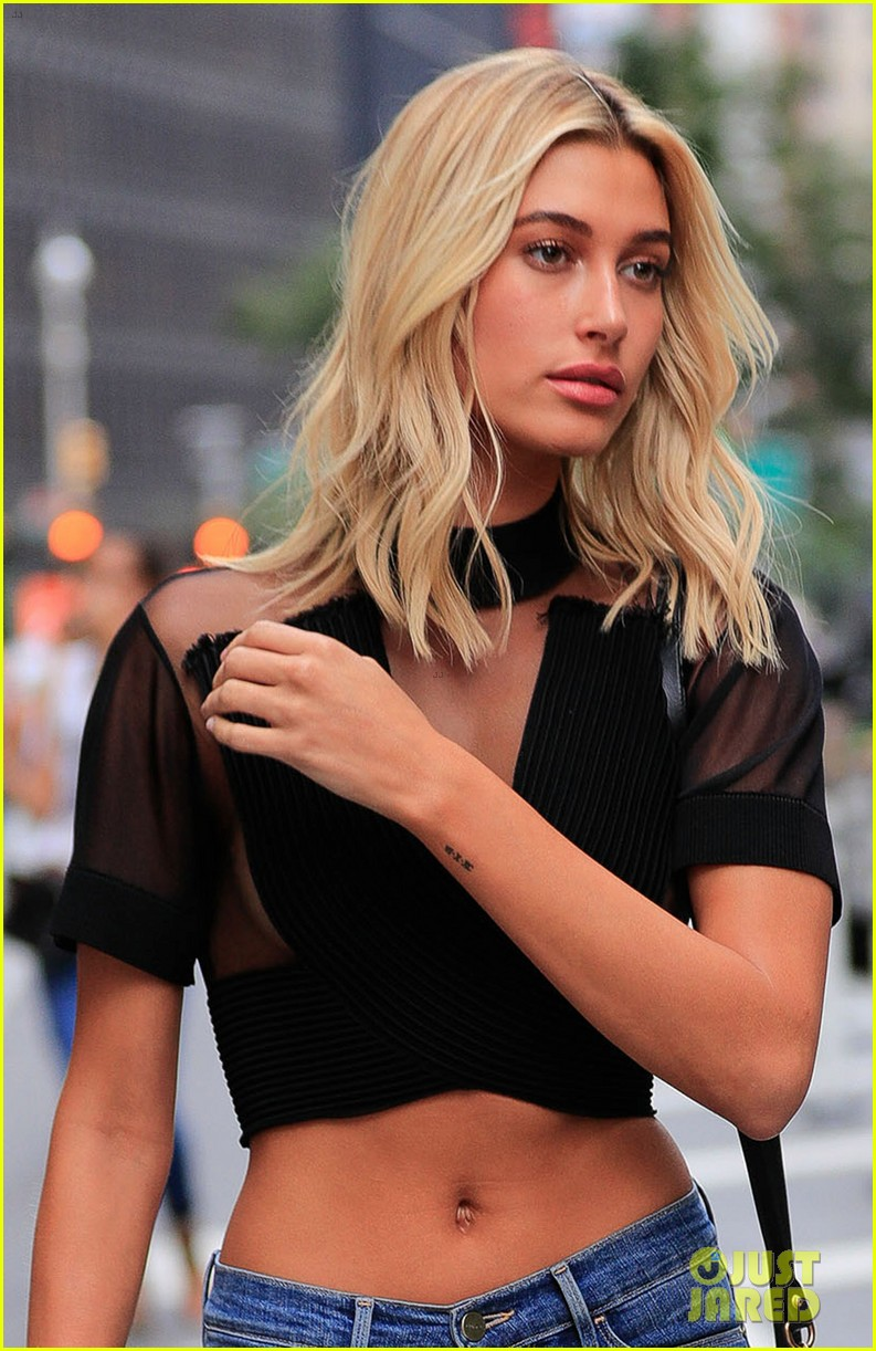 ee6d97d25e hailey baldwin auditions for victorias secret fashion show in semi sheer  crop top 07