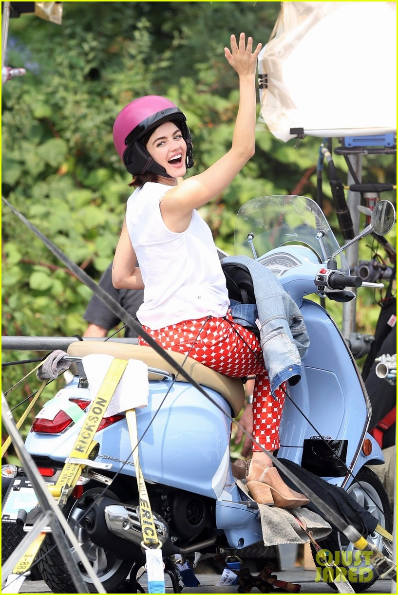 lucy hale rides a vespa and does some gardening on life sentence set 07
