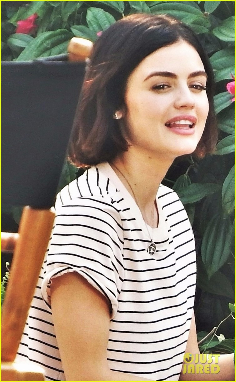 lucy hale rides a vespa and does some gardening on life sentence set 08