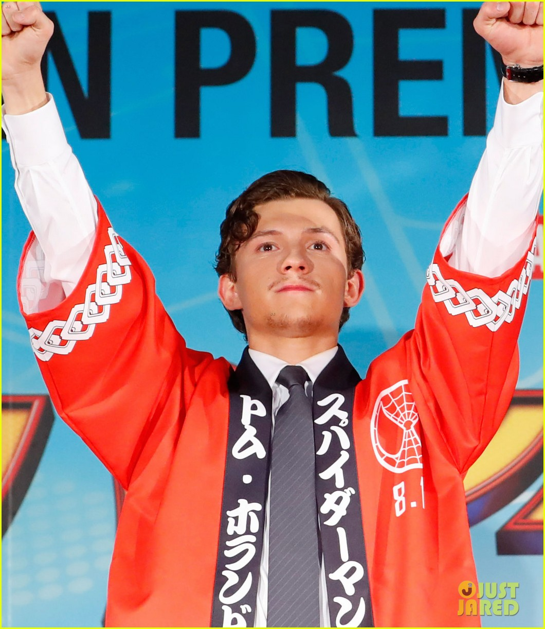 tom holland suits up for spider man homecoming tokyo premiere 05