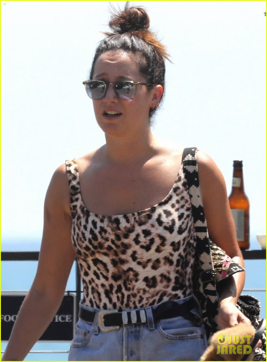 ashley tisdale hits the beach in leopard print bathing suit 06