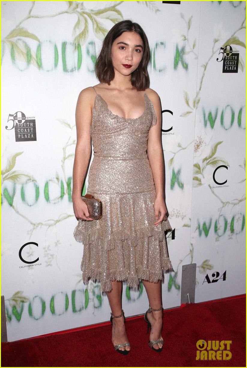 Rowan Blanchard Dazzles Head Toe Gold Woodshock Premiere 03 Demi Lovato Selena Gomez Movie