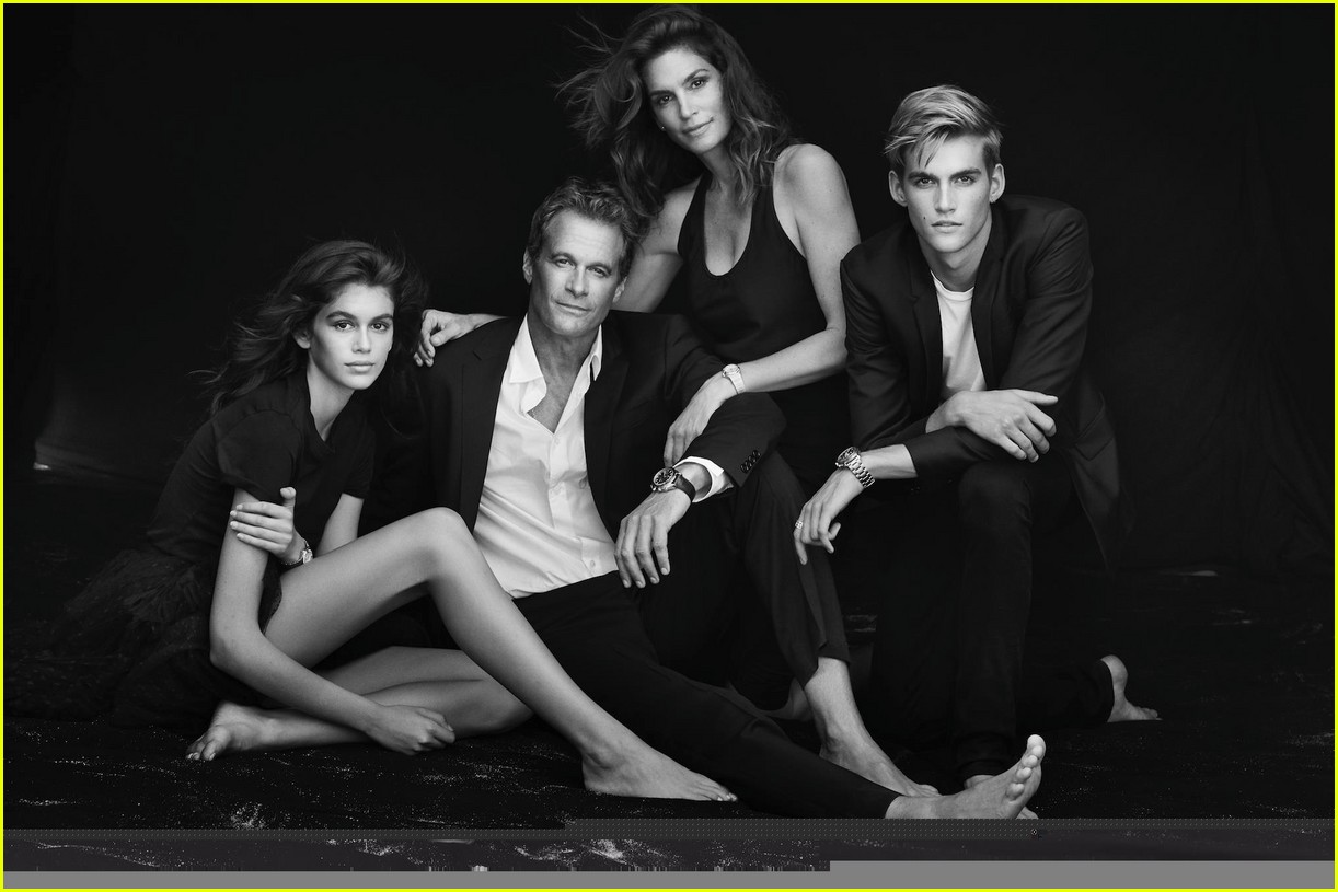 cindy crawford and rande gerber join kids kaia and presley at her time omega photocall3 03