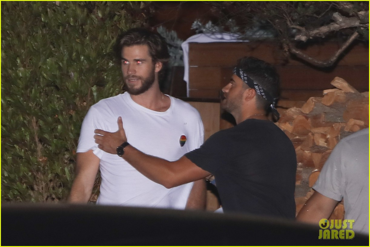 liam luke hemsworth grab dinner with friends and family 03