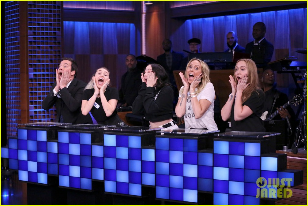 riverdale cast miley cyrus family face off in hilarious tonight show game show 06