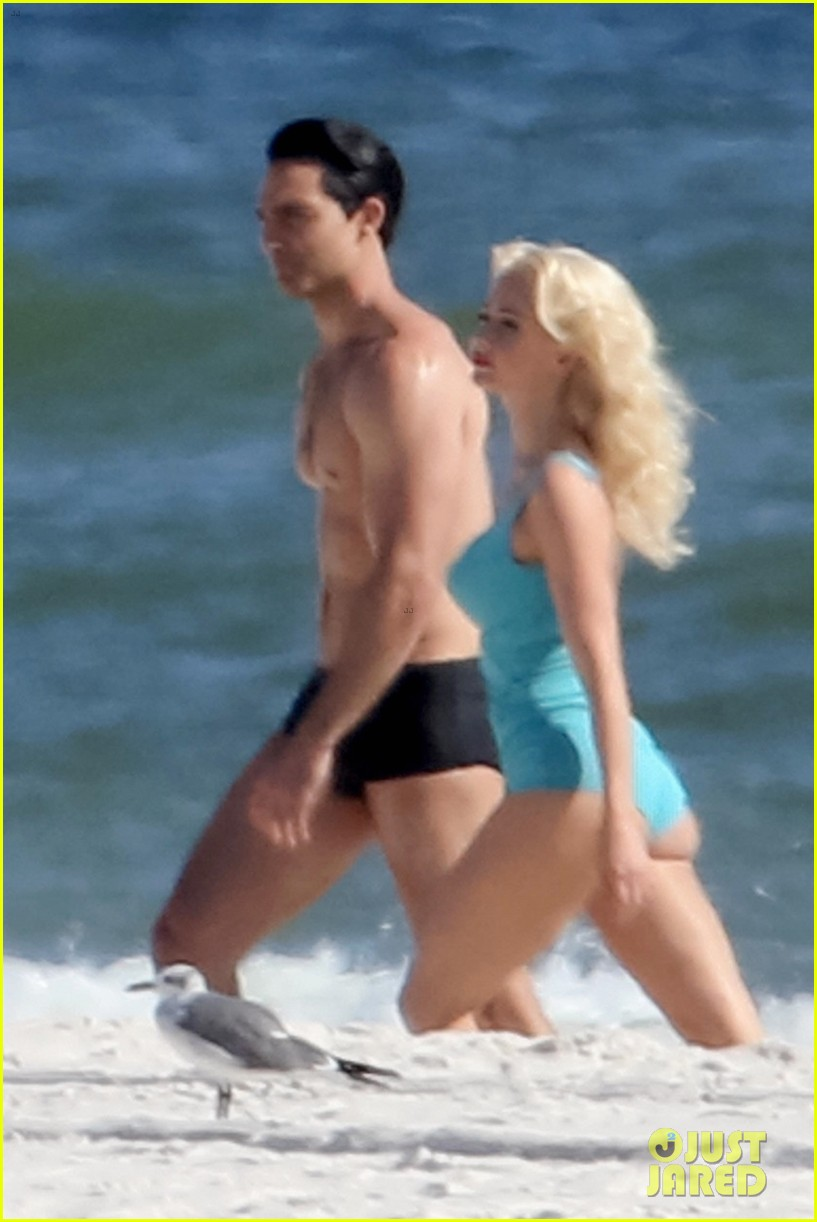 tyler hoechlin wears tiny swimsuit for bigger beach scene julianne hough 02