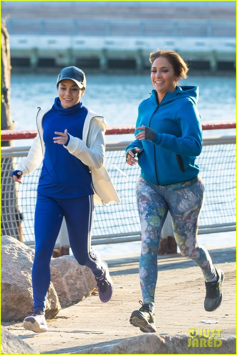 jennifer lopez and vanessa hudgens are running buddies on second act set 15