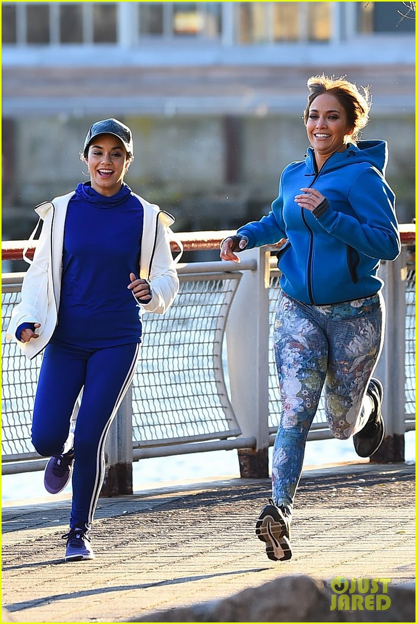 jennifer lopez and vanessa hudgens are running buddies on second act set 20