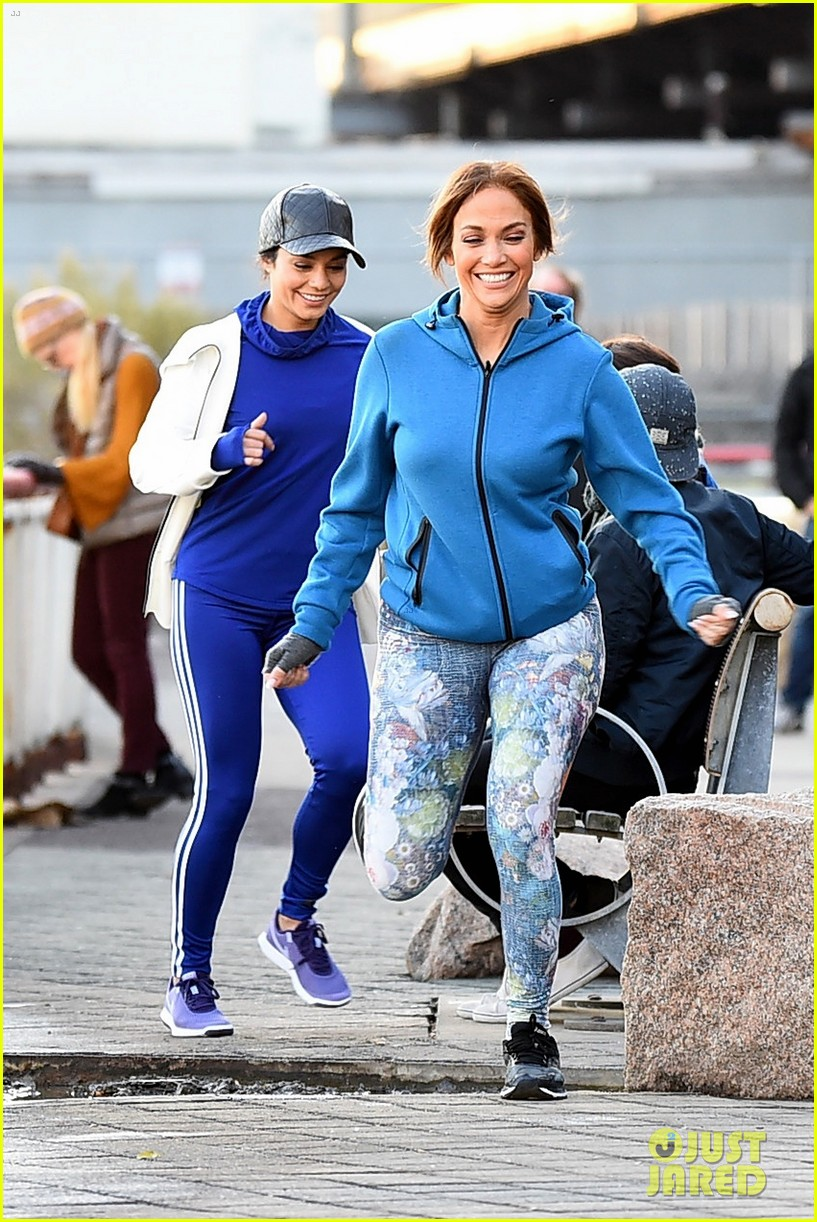 jennifer lopez and vanessa hudgens are running buddies on second act set 21