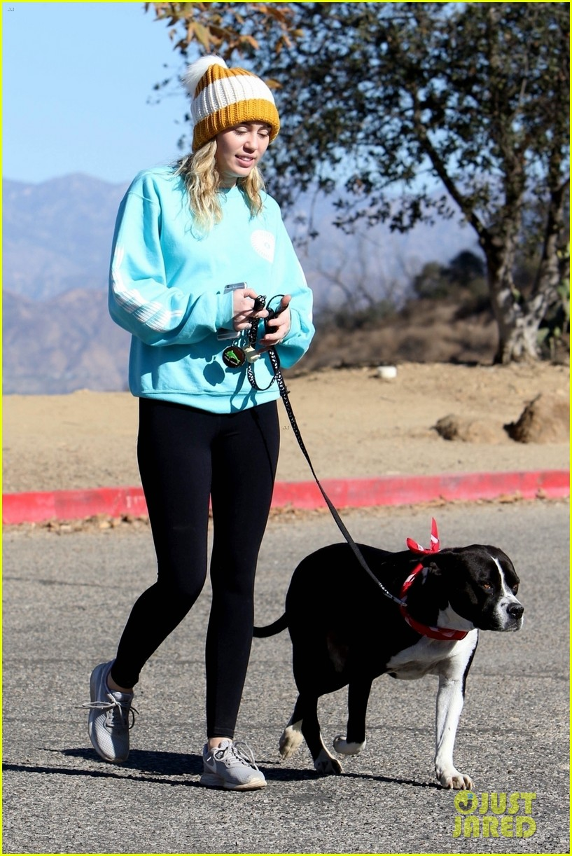 miley cyrus and pup mary jane step out for a hike in la 03