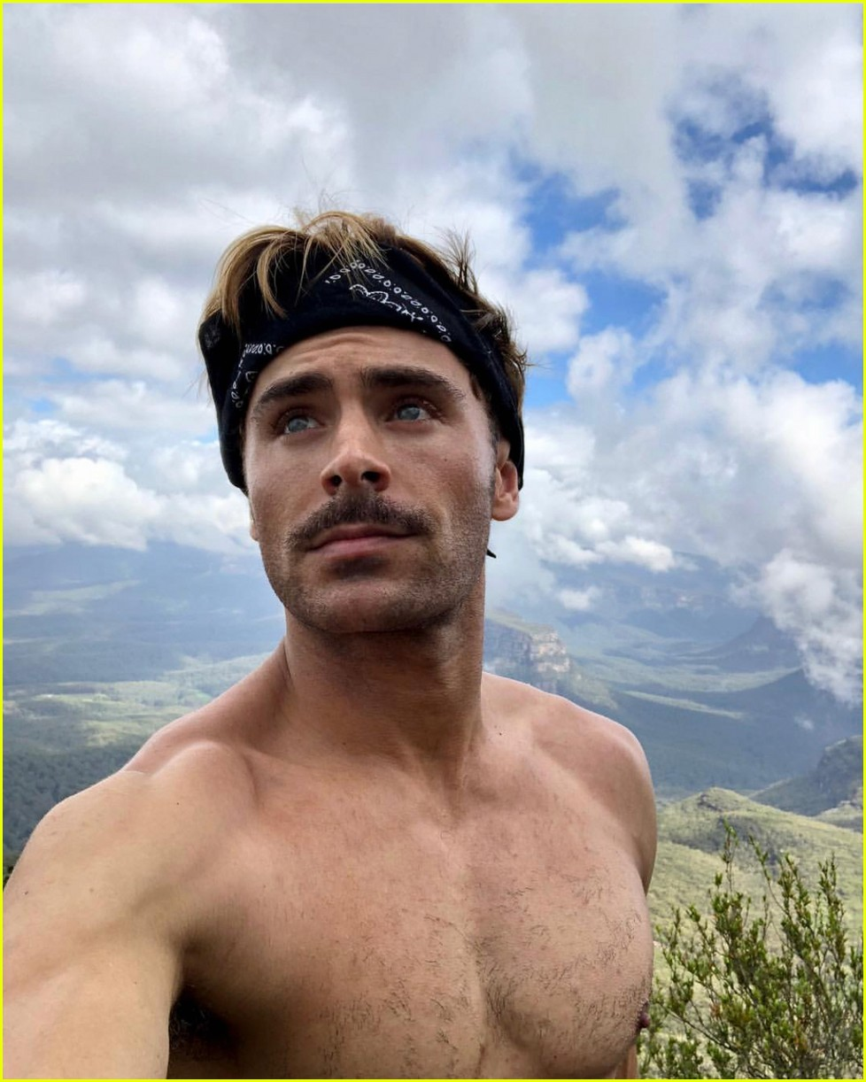 zac efron goes shirtless for christmas day hike 05