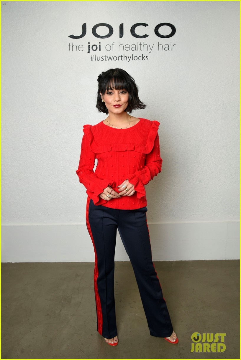 vanessa hudgens shows off new holiday look with joicos hair shake 01