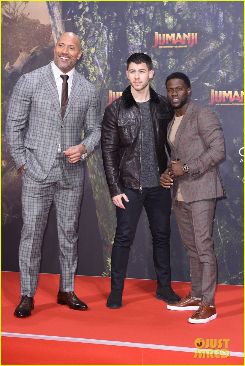 nick jonas dwayne johnson bring jumanji to germany 03