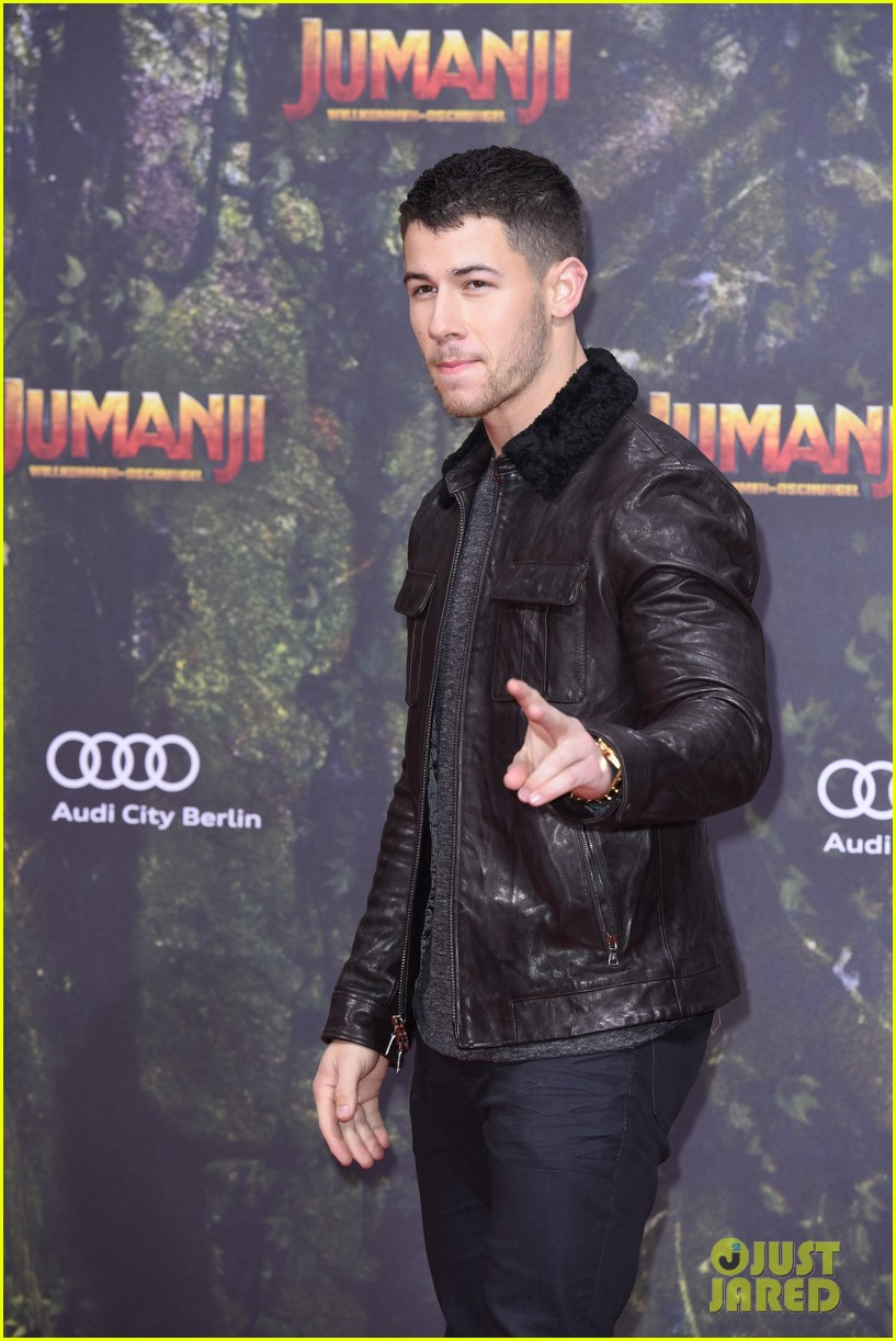 nick jonas dwayne johnson bring jumanji to germany 15