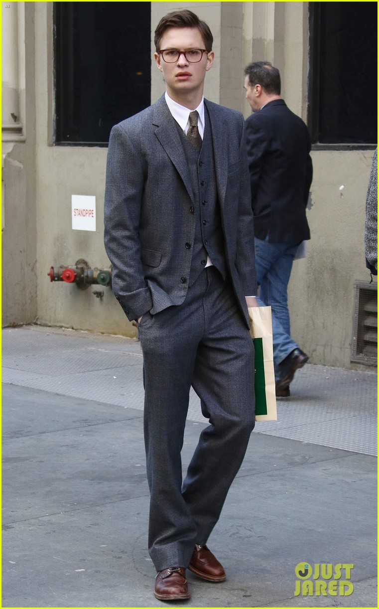 ansel elgort suits up on set of the goldfinch in nyc 01